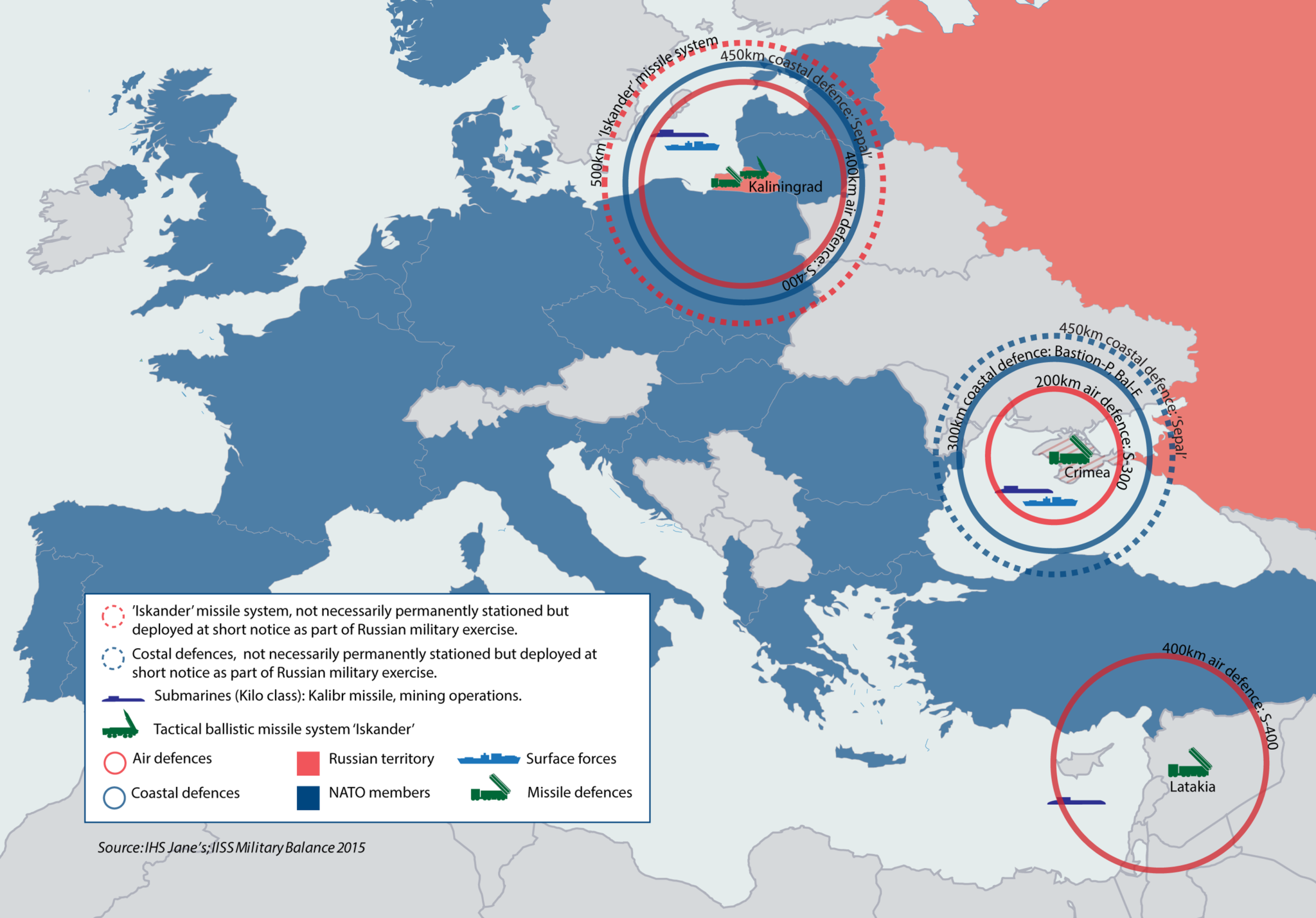 Russian A2/AD Bubbles in Europe and the Mediterranean (IHS Jane's 2015)